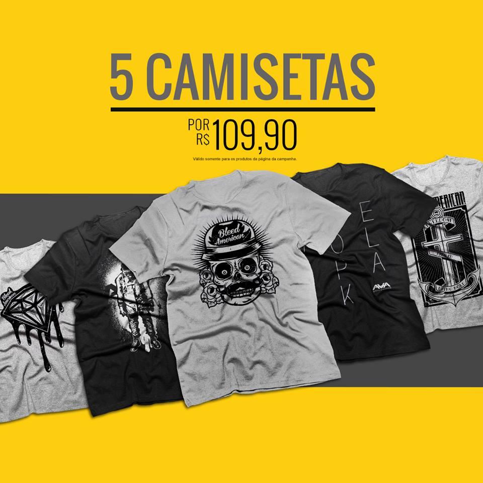5 camisetas por R$ 109,90