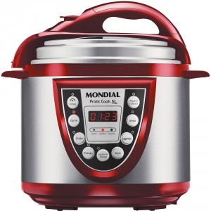 Panela Elétrica de Pressão Mondial Pratic Cook 5L Vermelho